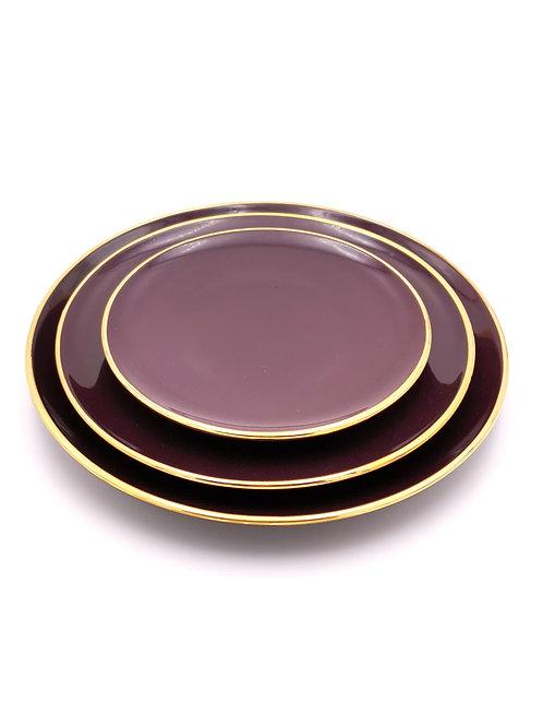 Assiettes plates | Bord doré | Aubergine | à partir de 24 €