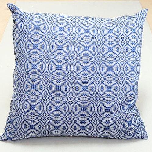 Coussin «Locorotondo» | coton & laine Mérinos | Argile & bleu | 50x50 cm | 240 €