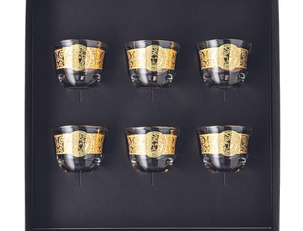 Set de 6 gobelets petits sans anse   Versace   Gala Prestige Medusa Gold   280 €