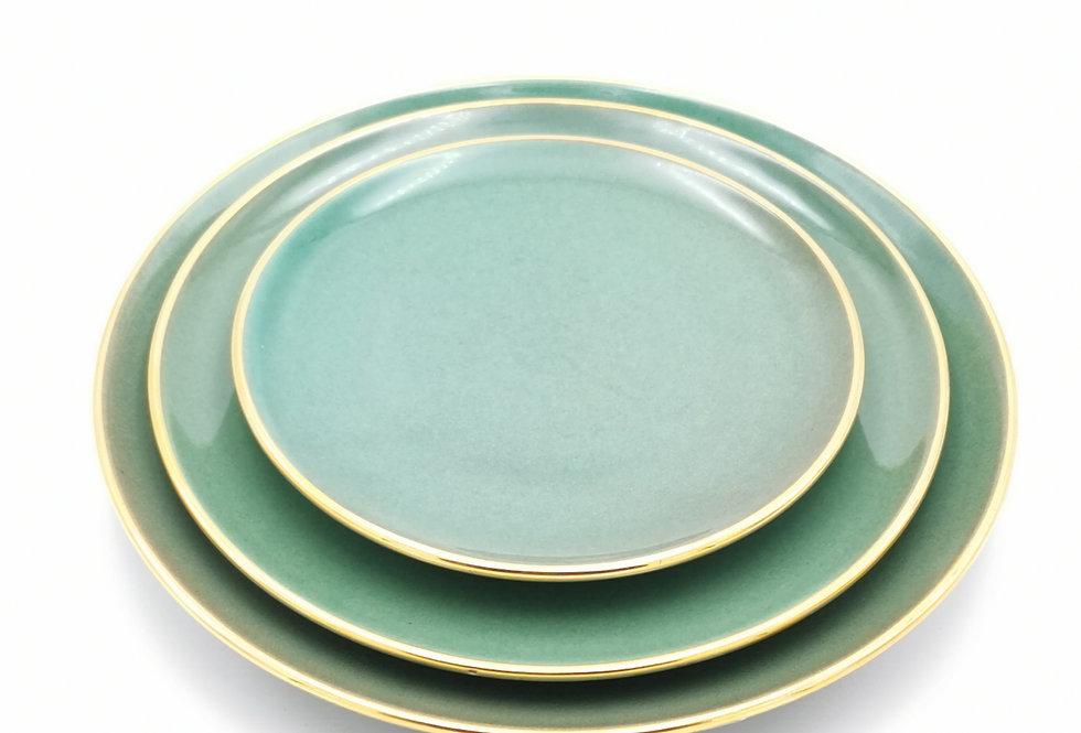 Assiettes plates | Bord doré | Vert céladon | à partir de 32 €