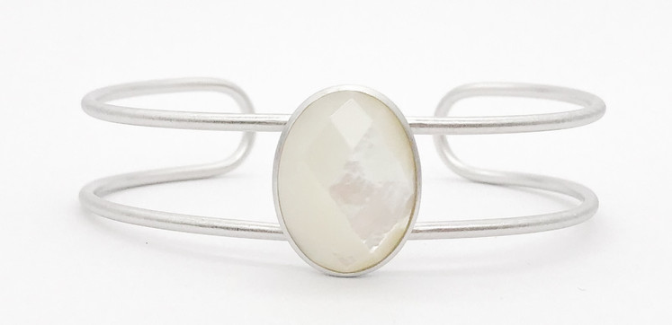 White Mother Of Pearl 925 Bangle