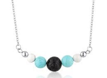 Turquoise & Howlite diffuser necklace