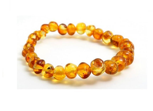 Honey baltic amber bracelet. Adult size