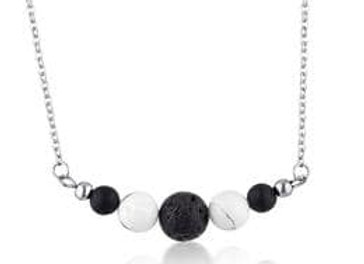 Howlite & Lava Stone diffuser necklace