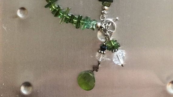 Green tourmaline necklace with sterling  silver toggle clasp