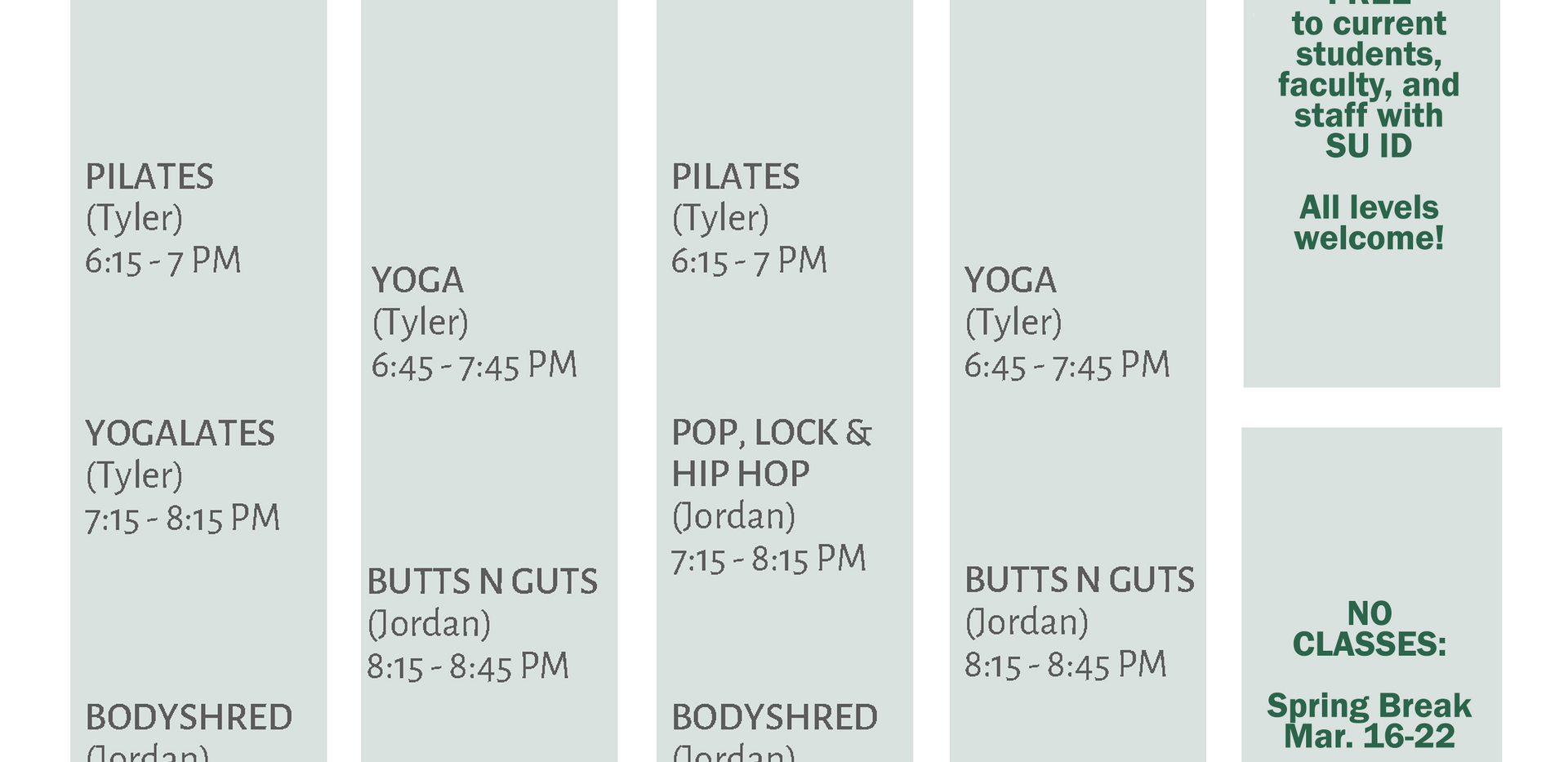 Fitness Class Schedule