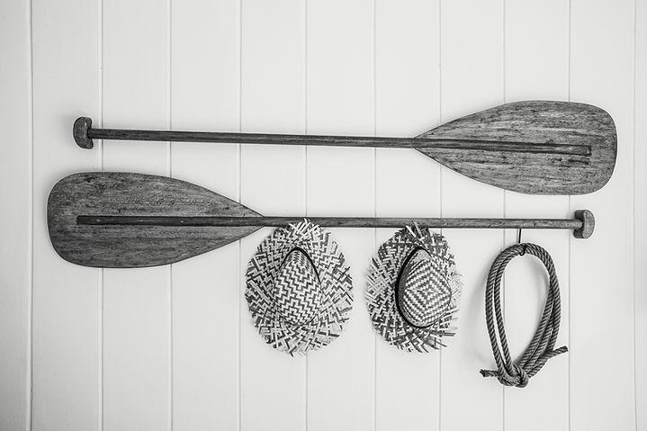 Boat equipment hang on white wall beauti