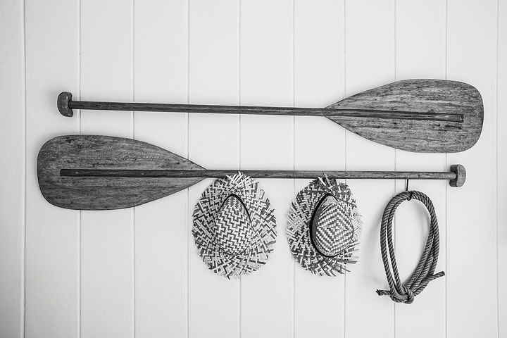 Boat equipment hang on white wall beauti