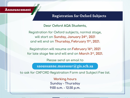 Registration for Oxford subjects