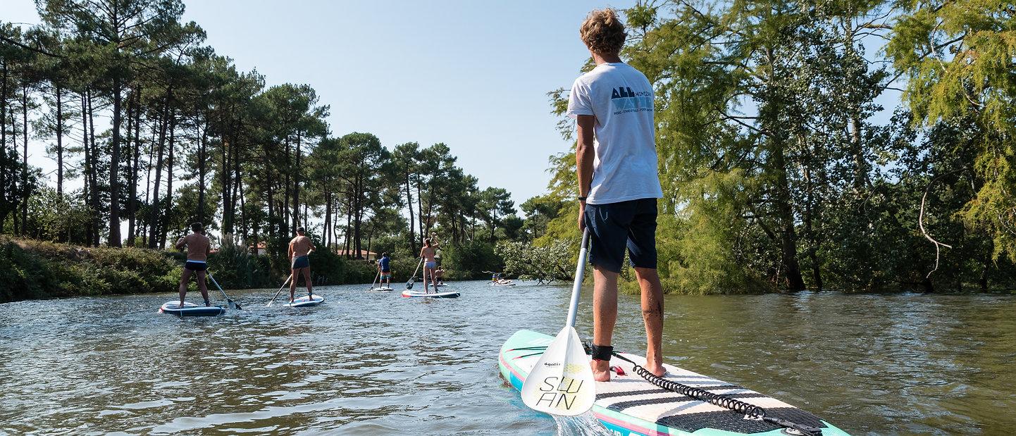 All Water école de sports nautiques à Mimizan sur le lac ou à l'océan (paddle, kayak, pédalo, pirogue, waveski, parcours d'orientation et chasse au trésor