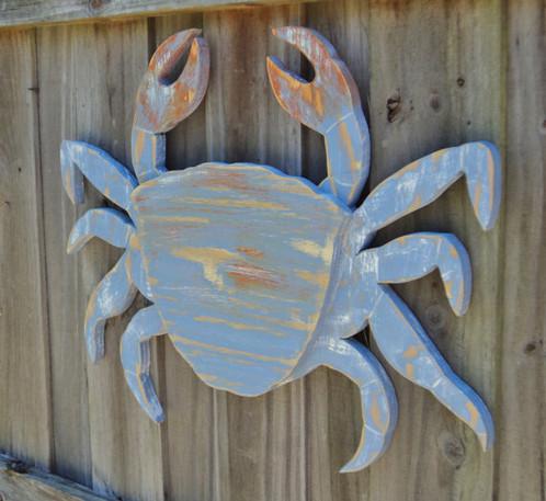 Large Wooden Crab, Nautical Wall Art, Ocean Decor, Coastal Living