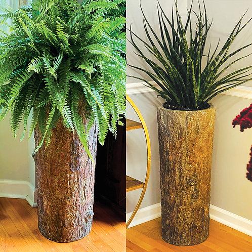 Country Corner 🌼 Vintage Indoor Log Planter Stand Tall Plant & Flower Pot