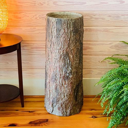 Country Corner 🌳 Vintage Farmhouse Tree Stump Garbage Bin. Unique Rustic Indoor