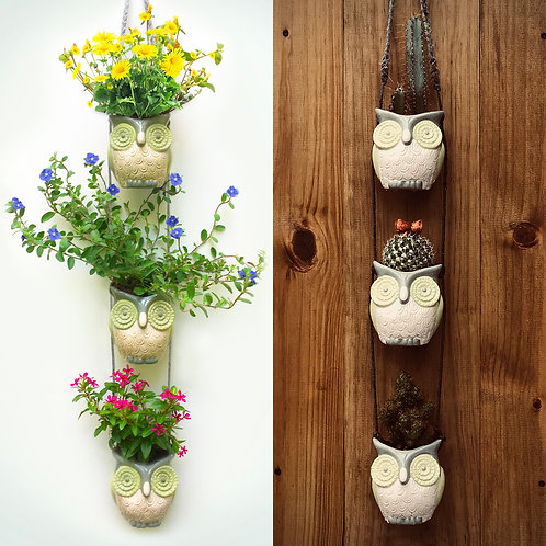 Wooded Mountain Owls. Cool Vintage Farmhouse Hanging Succulent Planters.