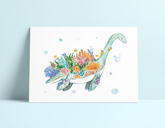 Coral Plesiosaur Print