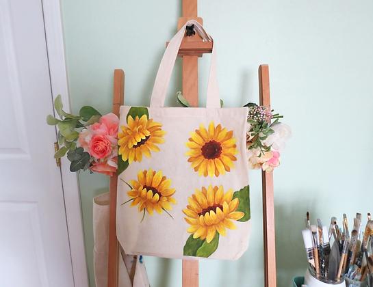 Handpainted SunflowerTote