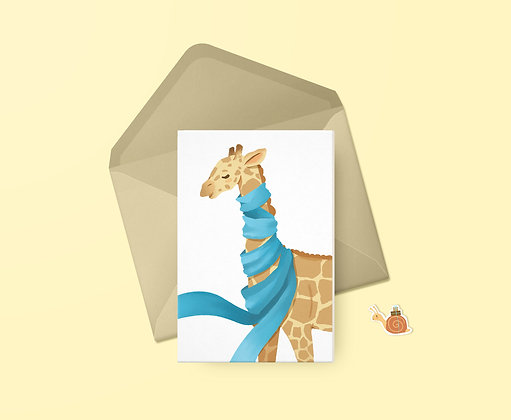 Cozy Giraffe Greeting Card
