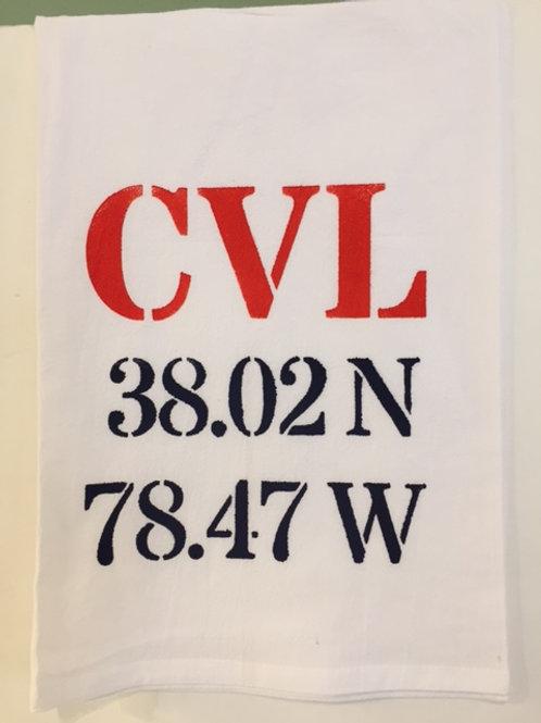 CVL Longitude/Latitude Flour Sack Towel