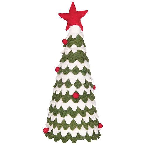 Green, White & Red Felt Tree