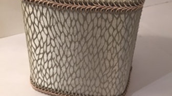 Jan Sevadjian tissue box cover in grey and taupe pattern.