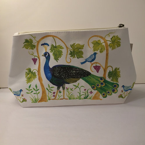 Peacock Design Canvas Cosmetic Bag