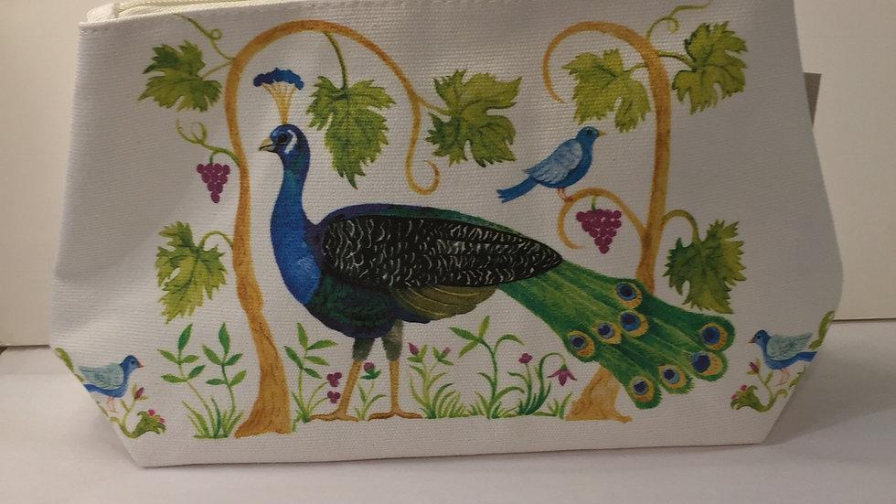 Peacock Design Canvas Cosmetic Bag