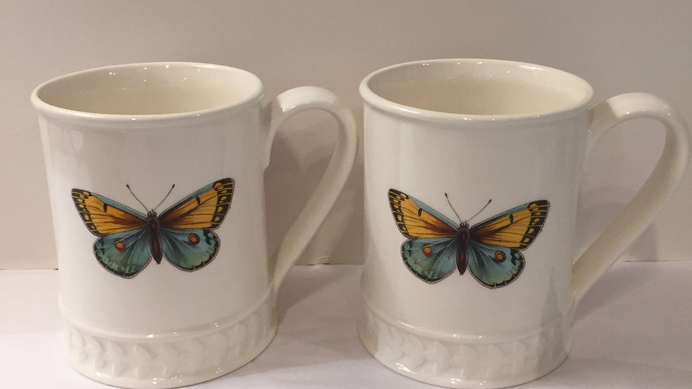 Pair of Portmeirion Butterfly Mugs - Yellow