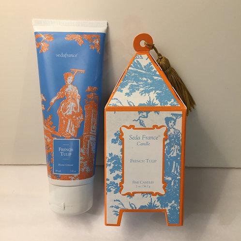 Seda France French Tulip Hand Cream & Mini Pagoda Candle