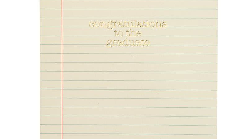 Congratulations to the Grad Ruled Paper Card