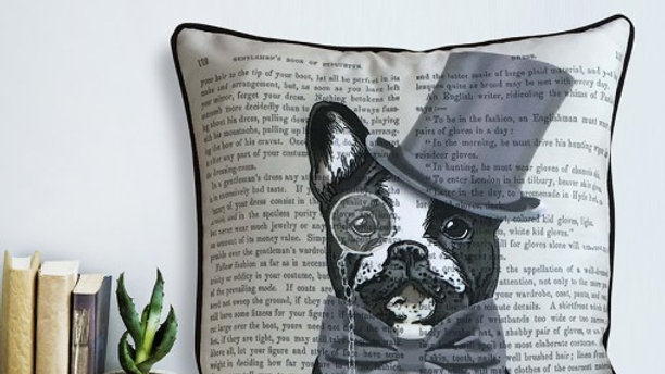 """Monsieur Bulldog"" 18x18"" FabFunky Pillow"