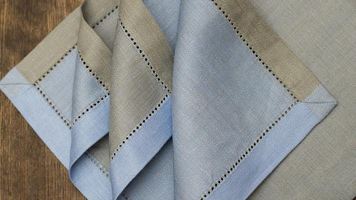 Set of 4 Vienna Linen Napkins in  Blue and Taupe