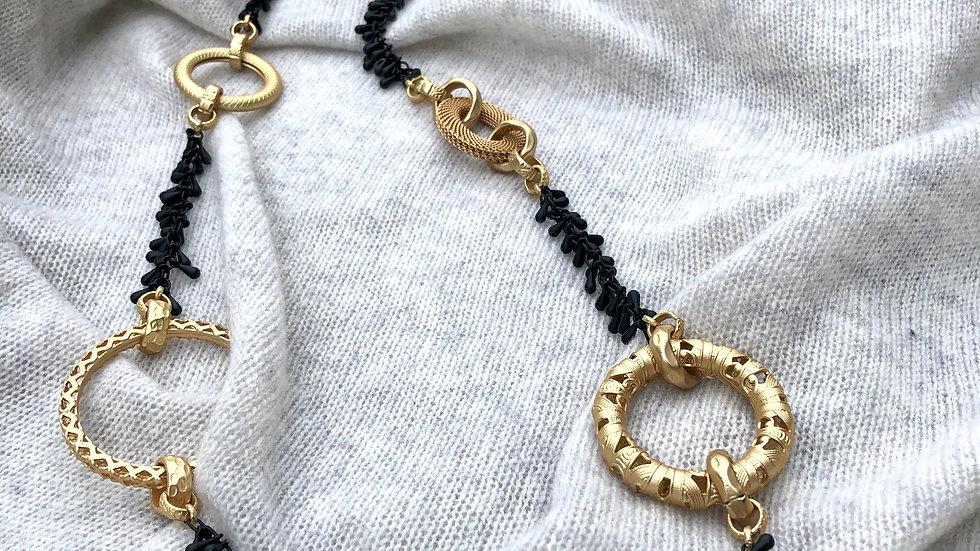 Harriet & Vee matte black tiny teardrops necklace