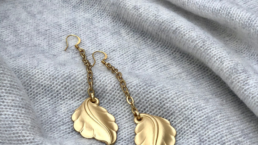 Harriet & Vee Earrings: gold plated leaves