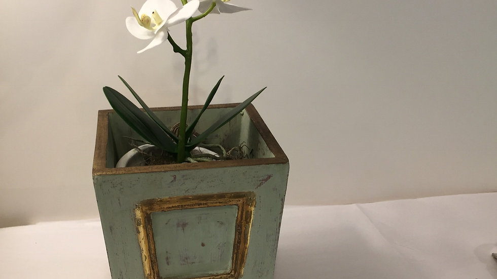 Faux Orchid in Gilded Green Wooden Cachepot
