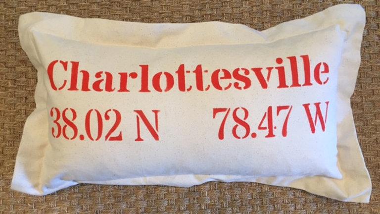 Charlottesville Longitude/Latitude pillow Orange