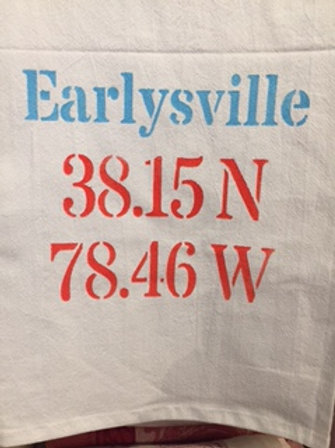 Earlysville Longitude/Latitude Flour Sack Towel