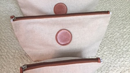 3 Piece Linen w/ Leather Trim Pouch set