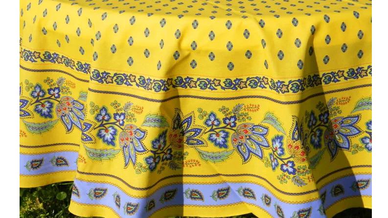 "Lisa Yellow 70"" Round Cotton Tablecloth"
