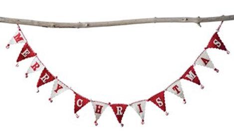 "72"" Felt Merry Christmas Garland in Red & White"