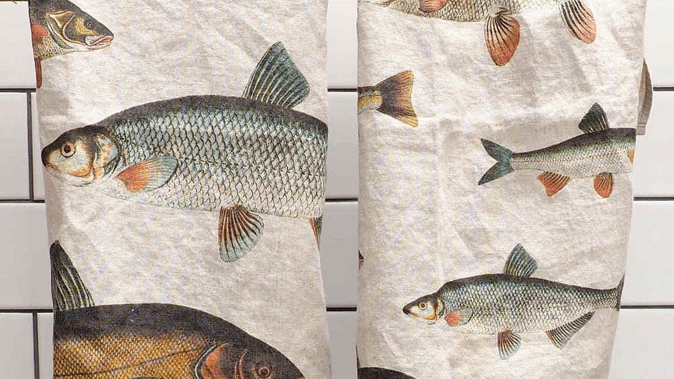 Pair of Linen Kitchen Towels - Fish