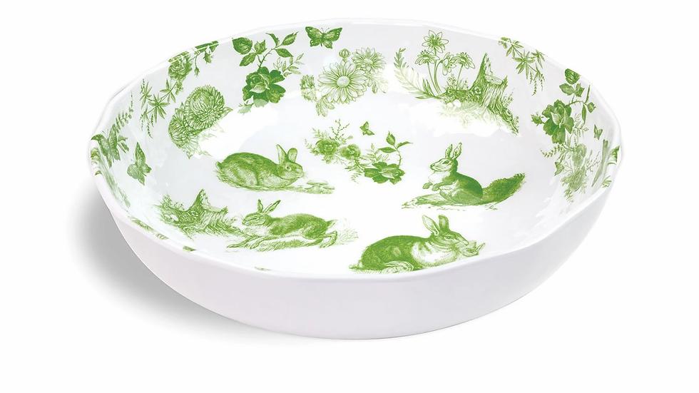 Bunny Toile Melamine Serving Bowl