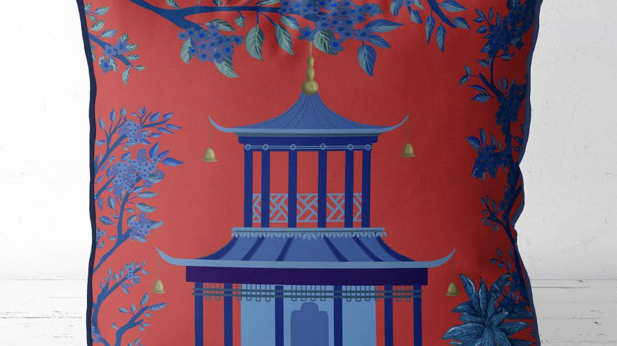 Fab & Funky Chinoiserie Pagoda Pillow