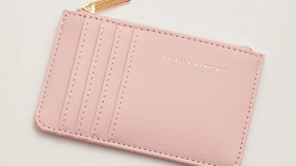 "Estella Bartlett mini card purse - pink with ""Dare to Dream"" gold stamped"