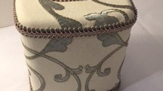 Jan Sevadjian tissue box in elegant grey on ivory fabric with taupe trim.