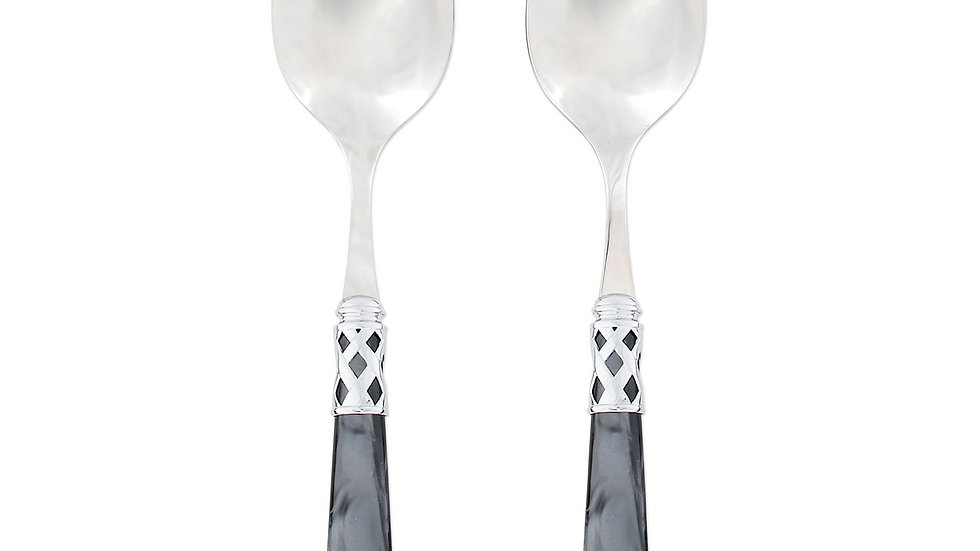 Vietri Aladdin Brilliant Charcoal Gray Salad Server Set