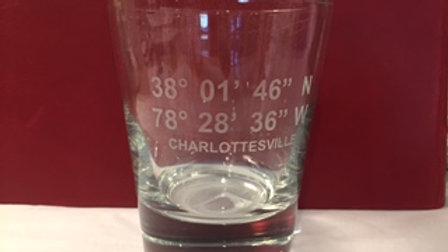Charlottesville Longitude/Latitude Double Old Fashion Glass