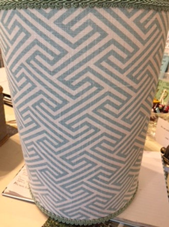 Greek key pattern in taupe and white linen wastebasket from Jan Sevadjian.