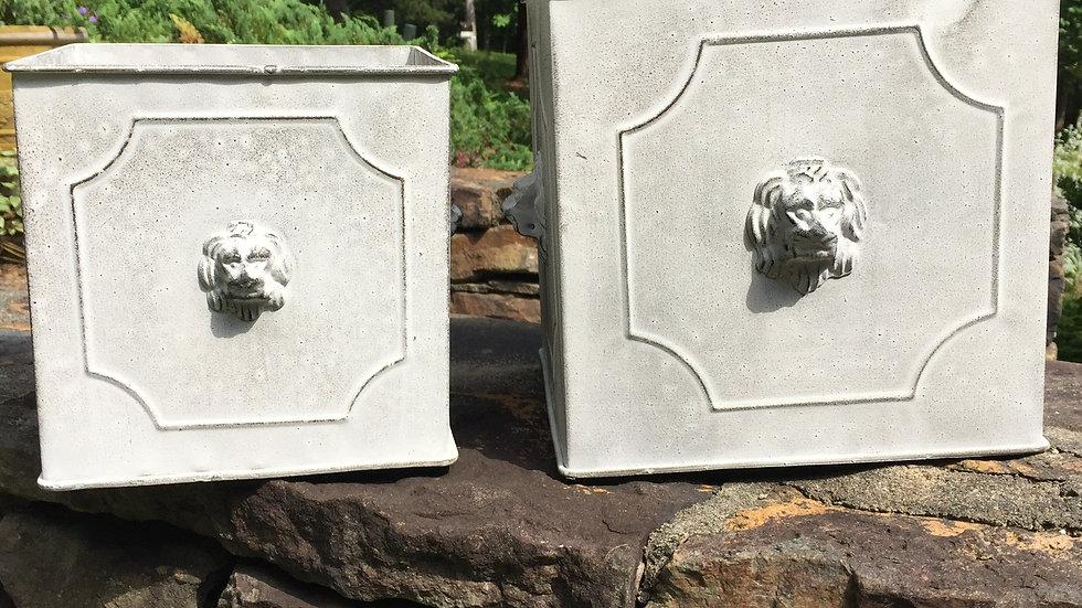 Lion Head Tin Planter - Small