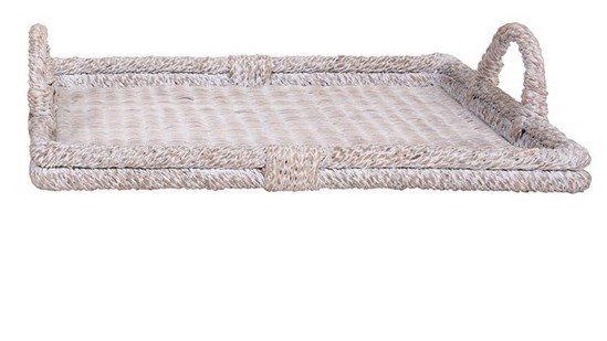 Small Whitewash Rattan Tray