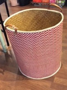 Large Red & White Rattan Basket
